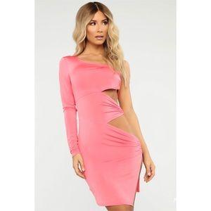 Fashion Nova Coral O Ring Cut Out Mini Dress NWT